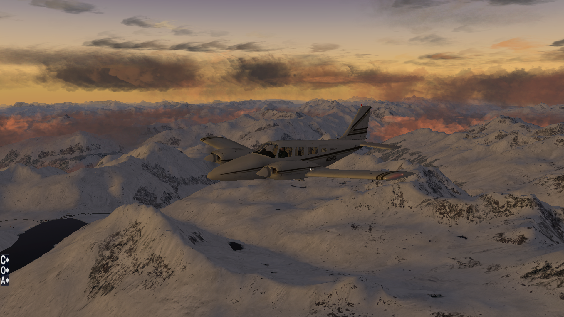 Carenado PA-34 Seneca über den Alpen im Winter